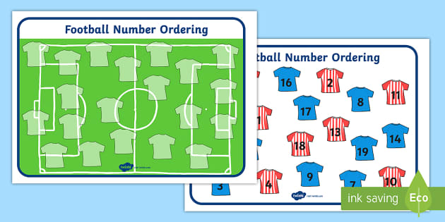 Football Strip Number Ordering - Football, World Cup, Soccer, Ordering Numbers, Numeracy, counting, activity,  fine motor skills, colouring, designing, euro 2016