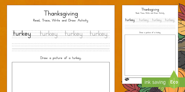 Turkey Read, Trace, Write and Draw Activity Sheet
