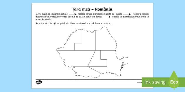 Harta Romaniei Potrivește piesele - Ziua Națională a României, 1 Decembrie, ziua României, harta, puzzle, joc, materiale, materiale