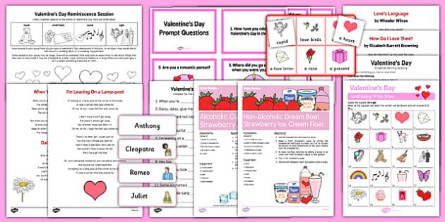 Elderly Care Valentine's Day Resource Pack - Elderly, Reminiscence, Care Homes, Valentine's Day