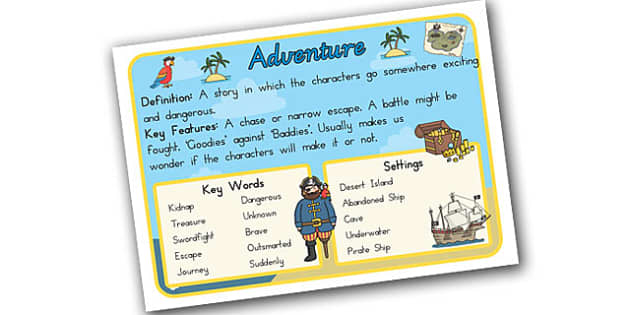 Story Genres Adventure Display Poster - stories, books, poster