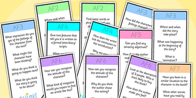 AF Guided Reading Bookmarks - assessment focus, assessment focus bookmarks, af bookmarks, blank bookmarks, editable af bookmarks, blank af bookmarks, af
