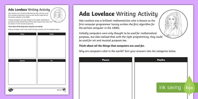Ada Lovelace 11th October Activity Sheet