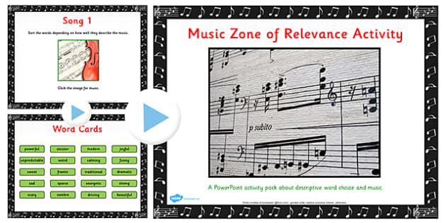 Zone of Relevance Music Describing Activity Pack - music, describe