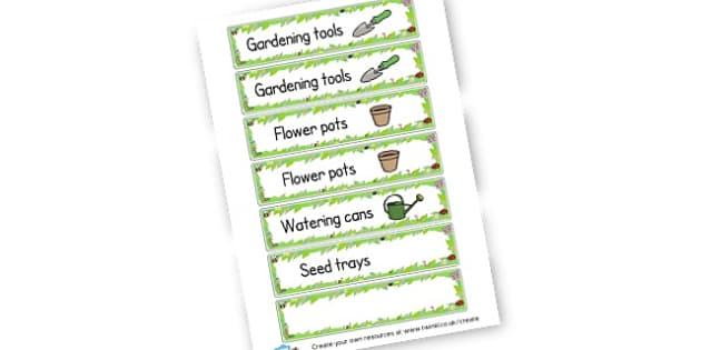 EYFS Gardening labels - Gardening Clubs, Extra Curricular, Topic, Primary Resources