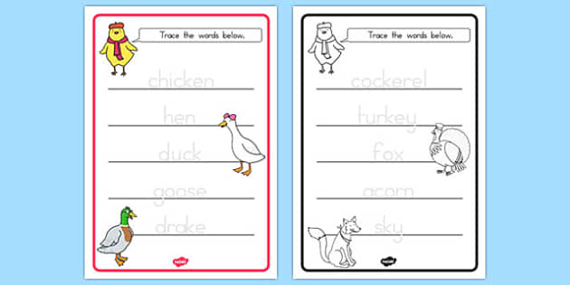 Chicken Licken Trace the Words Worksheets - australia, chicken licken, trace, words
