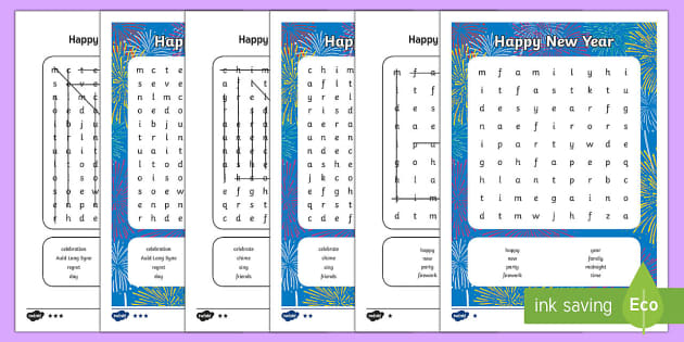 Happy New Year Differentiated Word Search - KS1/2 New Year resources (January), wordsearch, new, year, tradition, celebrate, celebration, party,