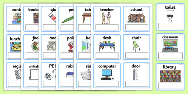 EAL Everyday Objects at School Editable Cards with English - EAL, everyday objects, editable cards, EAL cards, cards with english, english, words, language
