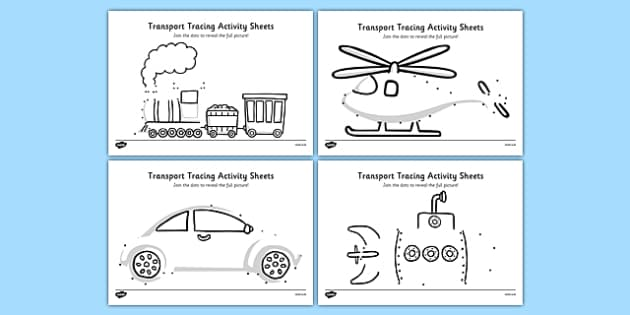 Aistear Transport Tracing Activity Sheets - roi, irish, republic of ireland, aistear, transport, worksheet