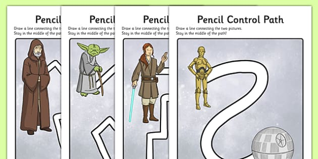 Space Wars Themed Pencil Control Path Worksheets - space wars, star wars, space, wars, star, control