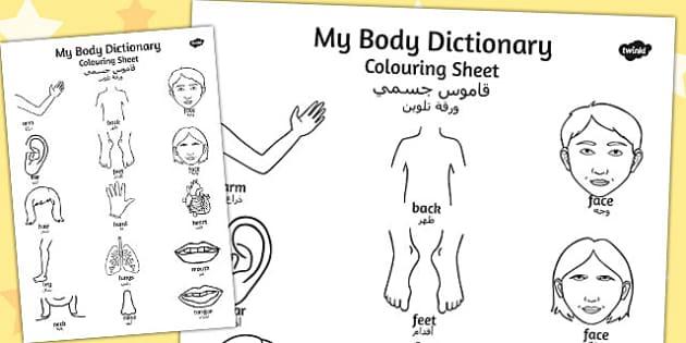 My Body Dictionary Colouring Sheet Arabic Translation - arabic