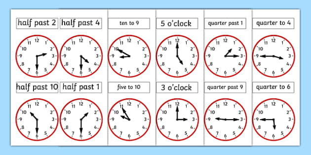 Analogue Clocks - analogue, clocks, time, quarter past, o'clock
