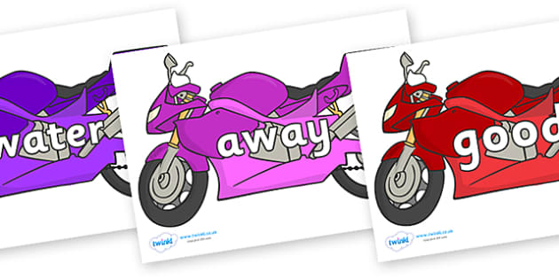 Next 200 Common Words on Motorbikes - Next 200 Common Words on  - DfES Letters and Sounds, Letters and Sounds, Letters and sounds words, Common words, 200 common words