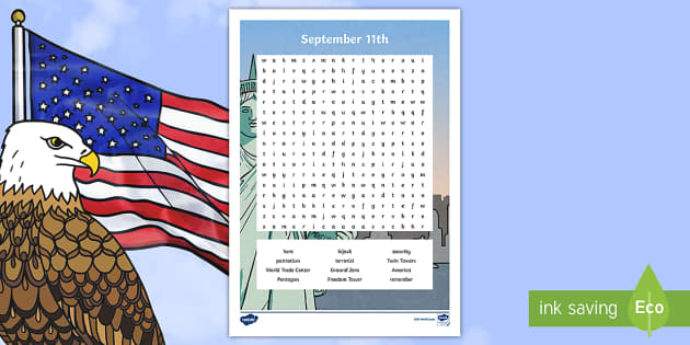 September 11th Word Search - Patriot Day, September 11th, World Trade Center, writing, word search, vocabulary