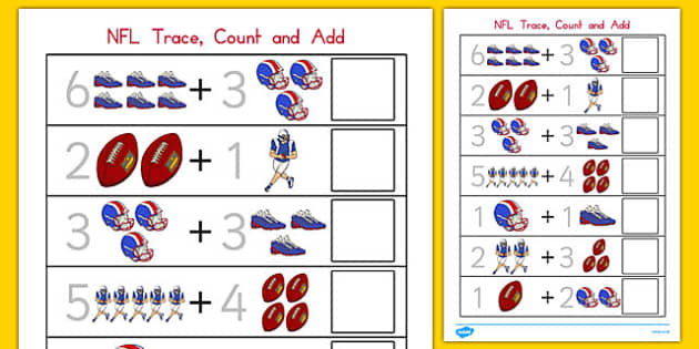 NFL Themed Trace, Count and Add Worksheet - usa, nfl, national football league, american football, trace, count, add