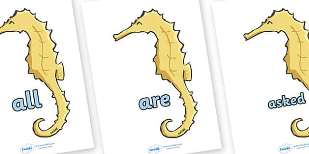 Tricky Words on Seahorses - Tricky words, DfES Letters and Sounds, Letters and sounds, display, words