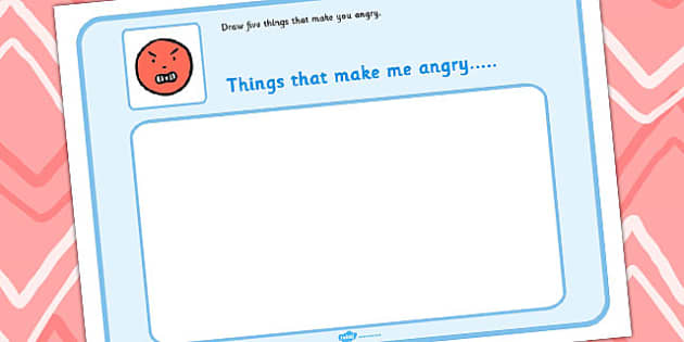 Draw 5 Things That Make You Angry - feelings, emotions, SEN