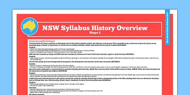 NSW Stage 2 History Syllabus Overview - australia, syllabus, nsw
