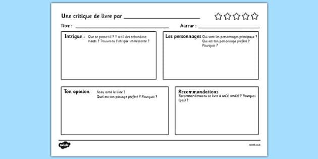 Une critique de livre par - french, book review writing template, book review, writing, template, writing template, books, review, aid