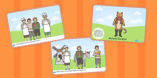 Motanul Incaltat, lectura, rezumat cu imagini, planse imprimabile, Romanian