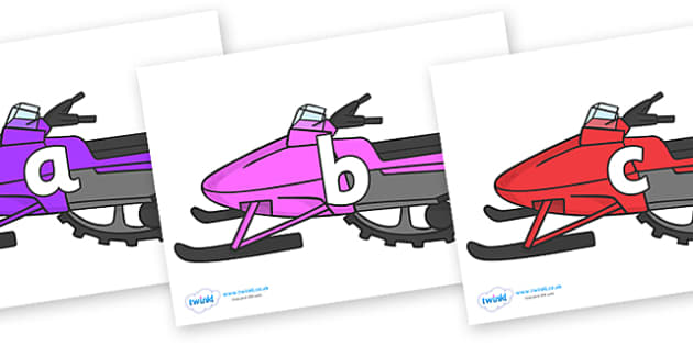 Phase 2 Phonemes on Snowmobiles - Phonemes, phoneme, Phase 2, Phase two, Foundation, Literacy, Letters and Sounds, DfES, display