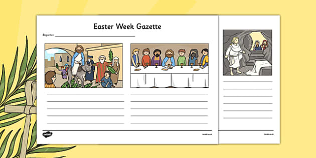 Easter Week Gazette Writing Template - Easter, writing, template, Good Friday, last supper