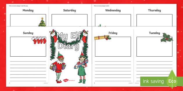 Elf Diary Writing Template - christmas, elf, diary, template, elf on the shelf