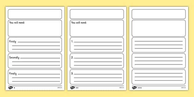 Instructions Writing Frame Template Differentiated – Instruction Template Word