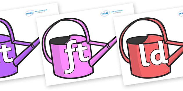 Final Letter Blends on Watering Cans - Final Letters, final letter, letter blend, letter blends, consonant, consonants, digraph, trigraph, literacy, alphabet, letters, foundation stage literacy