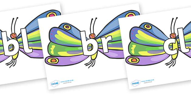 Initial Letter Blends on Beautiful Butterflies to Support Teaching on The Very Hungry Caterpillar - Initial Letters, initial letter, letter blend, letter blends, consonant, consonants, digraph, trigraph, literacy, alphabet, letters, foundation stage