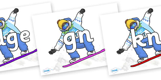 Silent Letters on Snowboarding - Silent Letters, silent letter, letter blend, consonant, consonants, digraph, trigraph, A-Z letters, literacy, alphabet, letters, alternative sounds