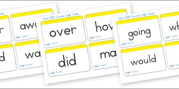 Next 200 Sight Word Cards - sight, see, senses, visual aids, card