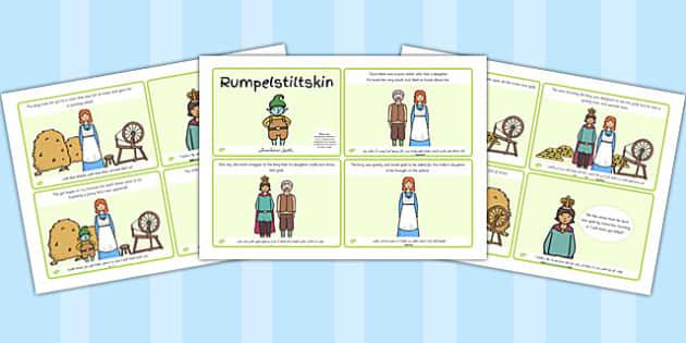 تسلسل قصة رومبل ستيلتسكن (أربعة في صفحة A4)  إنجليزي عربي