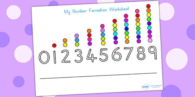 Number Formation Worksheet - number formation, motor skills, math
