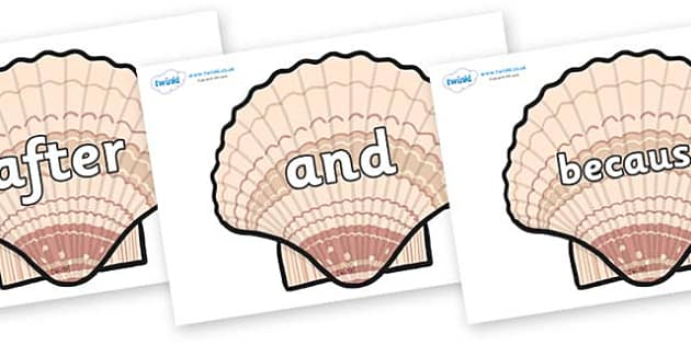 Connectives on Seashells - Connectives, VCOP, connective resources, connectives display words, connective displays