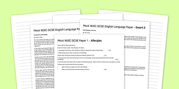 Mock WJEC English Language Paper Allergies - mock, wjec, english, language, paper, allergies