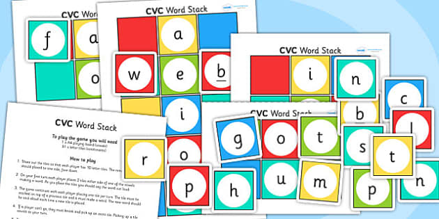 CVC Word Stack Game - CVC, word stack, game, word game, CVC game