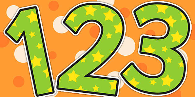 Green and Yellow Stars Themed A4 Display Numbers - display, stars