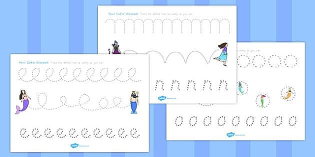 The Little Mermaid Pencil Control Sheets - australia, little mermaid