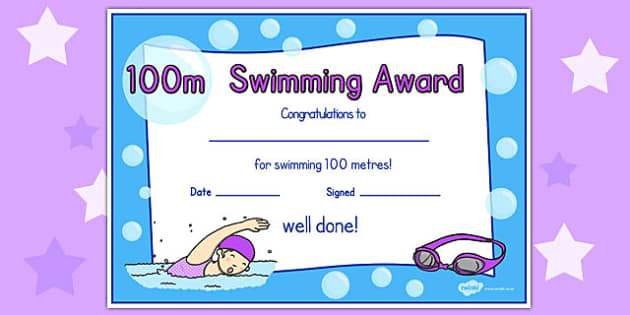100m Swimming Certificate - swimming, certificate, 100m, awards
