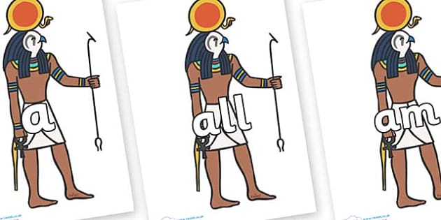 Foundation Stage 2 Keywords on Egyptian Figures - FS2, CLL, keywords, Communication language and literacy,  Display, Key words, high frequency words, foundation stage literacy, DfES Letters and Sounds, Letters and Sounds, spelling