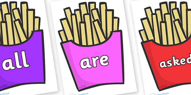 Tricky Words on French Fries - Tricky words, DfES Letters and Sounds, Letters and sounds, display, words