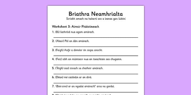 Briathra Neamhrialta Aimsir Fhaistineach Worksheet Gaeilge - worksheet, gaeilge, irish, briathra neamhrialta
