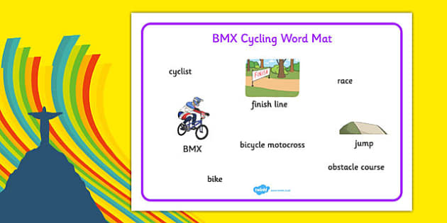 Rio 2016 Olympics BMX Cycling Word Mat - rio 2016, 2016 olympics, rio olympics, bmx cycling, bmx, cycling, word mat