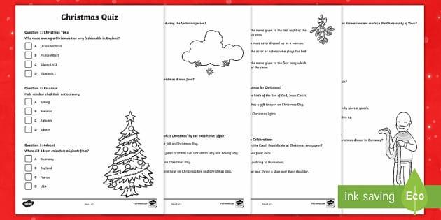 KS2 Christmas Quiz Activity Sheets - christmas, quiz, general