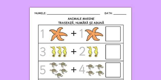 Animale marine, Fisa de adunare cu imagini - matematica, adunari , worksheet