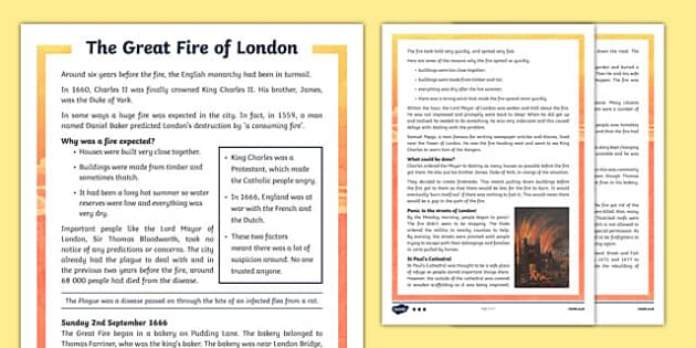 The Great Fire of London Differentiated Fact File
