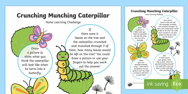 EYFS Home Learning Challenge Nursery FS1 - The Crunching Munching Caterpillar, Sheridan Cain, life cycle of a butterfly,