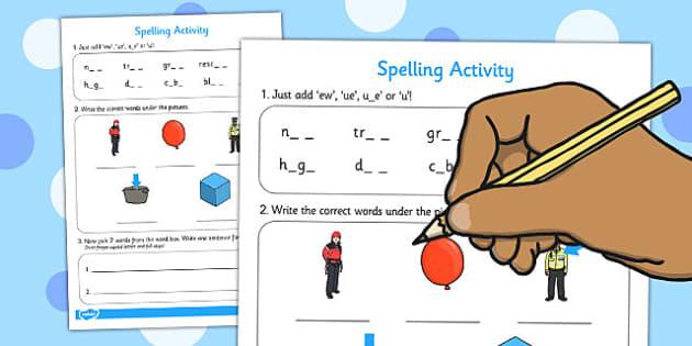 ew ue u_e or u Spelling Activity - spelling, activity, ew, ue, u