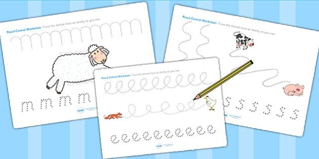 Pencil Control Sheets to Support Teaching on Farmyard Hullabaloo - farm, pencil control